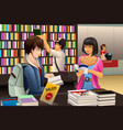 people in a book store vector image vector image