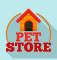pet store dog house logo flat style vector image vector image