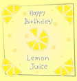 postcard happy birthday lemon juice vector image vector image