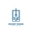 rocket phone logo vector image vector image
