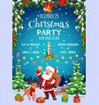 santa christmas deer and gifts xmas party flyer vector image vector image