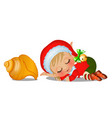 santas helper sleeping with large seashell vector image vector image