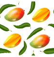 Seamless pattern with realistic mango