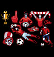 set of soccer concept vector image