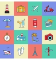 Set of travel and tourism line icons Flat style vector image