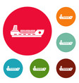 ship cargo icons circle set vector image vector image