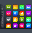 shopping bascket icons set vector image vector image