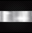 silver metallic banner on black squares textured vector image vector image