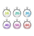 Six Colorful Stopwatches with Varying Times vector image vector image
