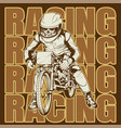 skull riding a motorcycle ready for race vector image