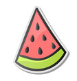 slice of watermelon sticker emoji style vector image vector image