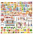 supermarket big store set vegetables fruits fish vector image vector image