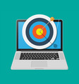 target with arrow in cente on laptop screen vector image