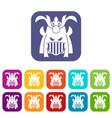 tribal helmet icons set vector image