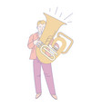 tuba or trumpet player musician orchestra member vector image vector image