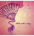 Vintage girl fan fashion banner vector image