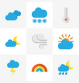 weather flat icons set collection of crescent vector image vector image