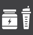whey protein with sports shaker glyph icon vector image vector image
