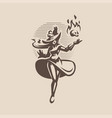 woman witch in an old hat and dress vector image vector image
