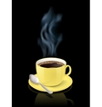 Yellow cup filled with espresso vector image