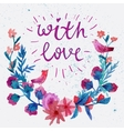 Watercolor flower laurel wreath with butterfly vector image