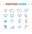 trendy weather icons set Minimalistic line vector image