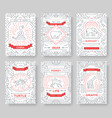 animal thin line brochure cards set exoti vector image