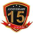 anniversary 15 th label with ribbon vector image