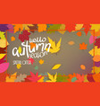 autumn colorful leaves frame hello autumn season vector image vector image