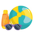beach balloon with solar blocker and sunglasses vector image vector image