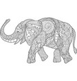 beautiful coloring book page with cartoon elephant vector image
