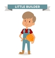 Builder boy with car rude isolated on white vector image vector image