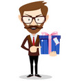 businessman has an offer giving a present parcel vector image vector image