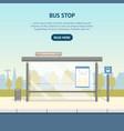 cartoon bus stop card poster ad vector image vector image