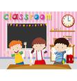 Children being happy in classroom vector image vector image