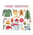 christmas modern set stickers vector image vector image