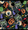 colorful halloween elements seamless pattern vector image