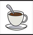 cup of coffee on saucer and with spoon inside vector image vector image