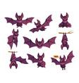 cute bat cartoon funny animal character flying vector image