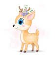 cute deer cartoon with flowers vector image