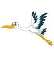 cute stork cartoon flying vector image