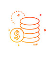 dollar coin currency icon design vector image