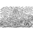 doodle sun clouds and ocean waves coloring page vector image vector image
