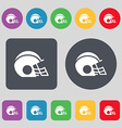 football helmet icon sign A set of 12 colored vector image vector image