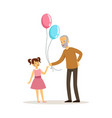grandfather and granddaughter old man gives vector image vector image
