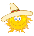 Happy Sun Wearing A Sombrero vector image