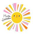 hello sunshine lettering cartoon vector image