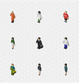 isometric people set of male girl doctor and vector image vector image