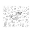 marine set little cute cartoon vector image vector image