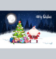 merry christmas background winter forest landscape vector image vector image